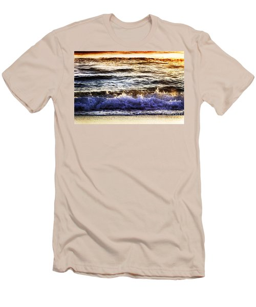 Men's T-Shirt (Slim Fit) featuring the photograph Early Morning Frothy Waves by Amyn Nasser