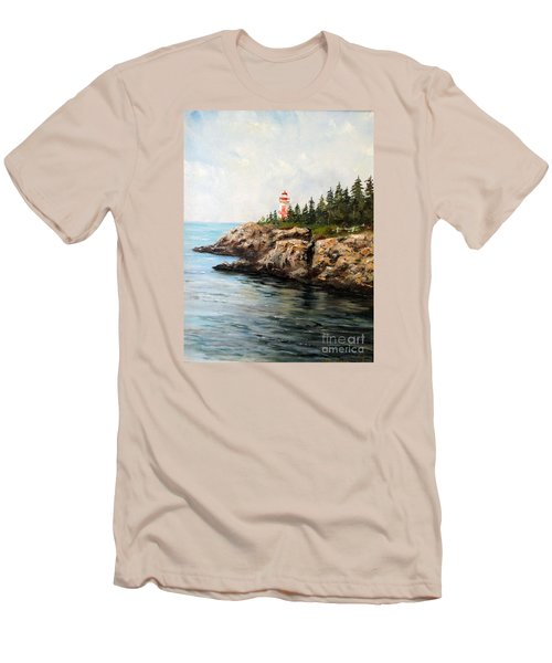 Men's T-Shirt (Slim Fit) featuring the painting East Quoddy Head Light by Lee Piper