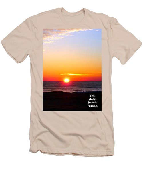East. Sleep. Beach Sunrise Men's T-Shirt (Athletic Fit)