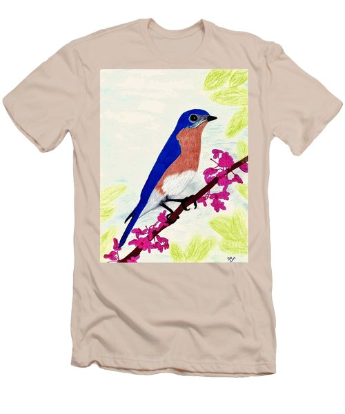 Men's T-Shirt (Slim Fit) featuring the drawing Florida - Eastern - Blue Bird by D Hackett