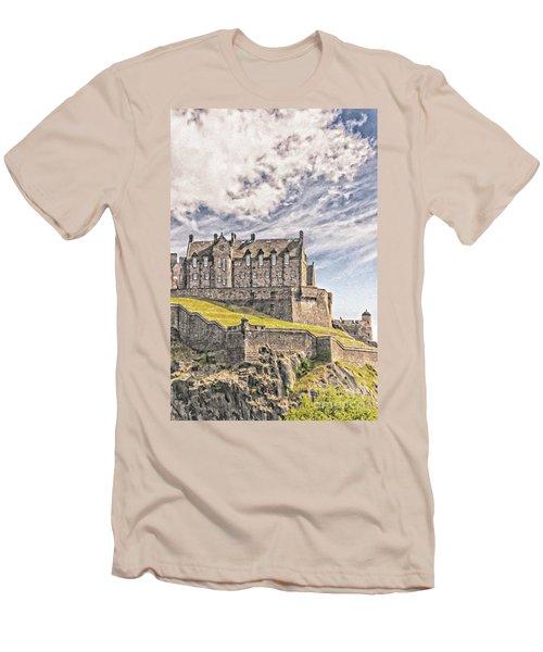 Edinburgh Castle Painting Men's T-Shirt (Athletic Fit)