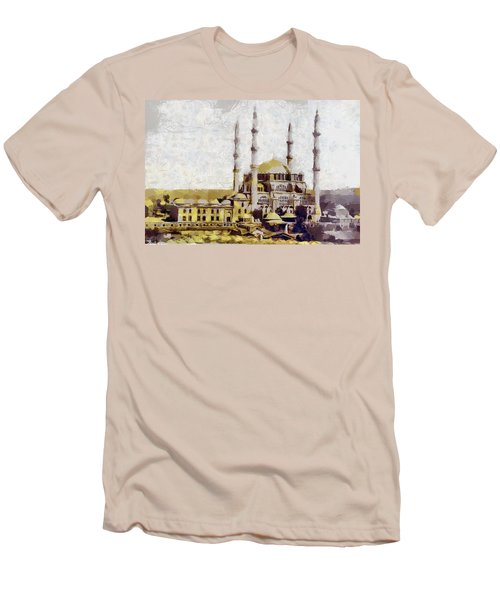 Men's T-Shirt (Slim Fit) featuring the painting Edirne Turkey Old Town by Georgi Dimitrov