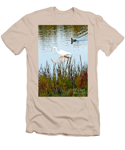 Men's T-Shirt (Slim Fit) featuring the photograph Egret And Coot In Autumn by Kate Brown