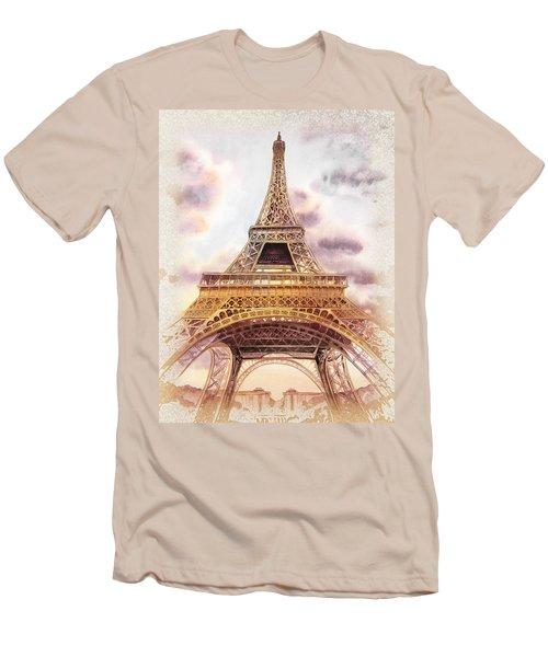 Men's T-Shirt (Slim Fit) featuring the painting Eiffel Tower Vintage Art by Irina Sztukowski