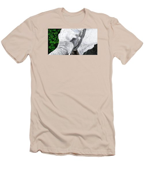 Men's T-Shirt (Slim Fit) featuring the painting Elephant II by Jeanne Fischer