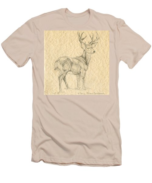 Men's T-Shirt (Slim Fit) featuring the drawing Elk by Mary Ellen Anderson