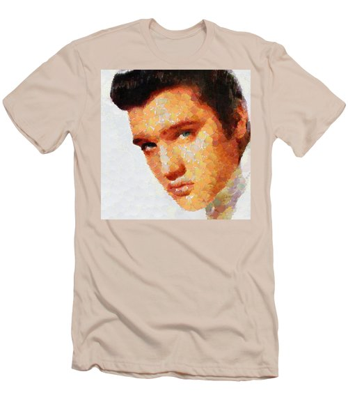 Men's T-Shirt (Slim Fit) featuring the painting Elvis Presley The King Of Rock Music by Georgi Dimitrov