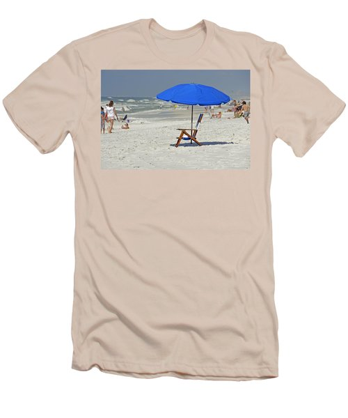 Men's T-Shirt (Slim Fit) featuring the photograph Empty Beach Chair by Charles Beeler