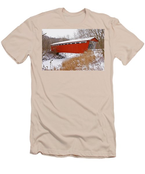 Everett Rd. Covered Bridge In Winter Men's T-Shirt (Athletic Fit)