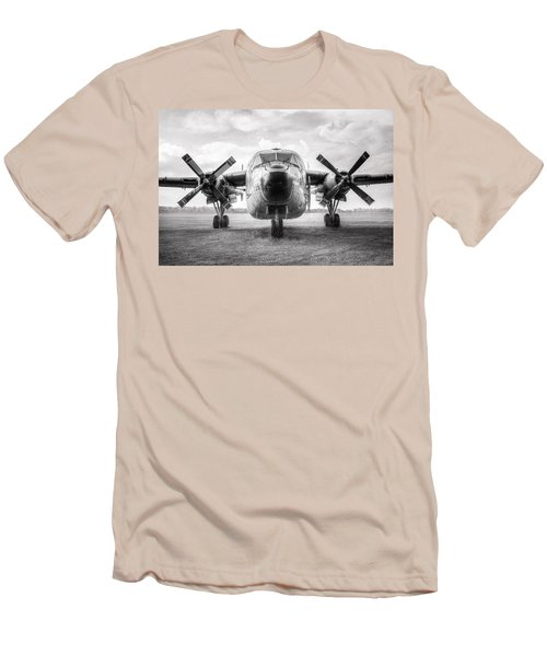 Men's T-Shirt (Slim Fit) featuring the photograph Fairchild C-119 Flying Boxcar - Military Transport by Gary Heller