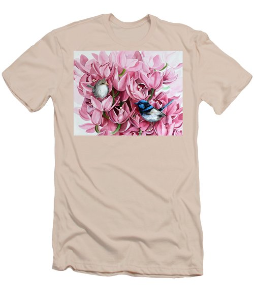 Fairy Wrens And Orchids Men's T-Shirt (Athletic Fit)
