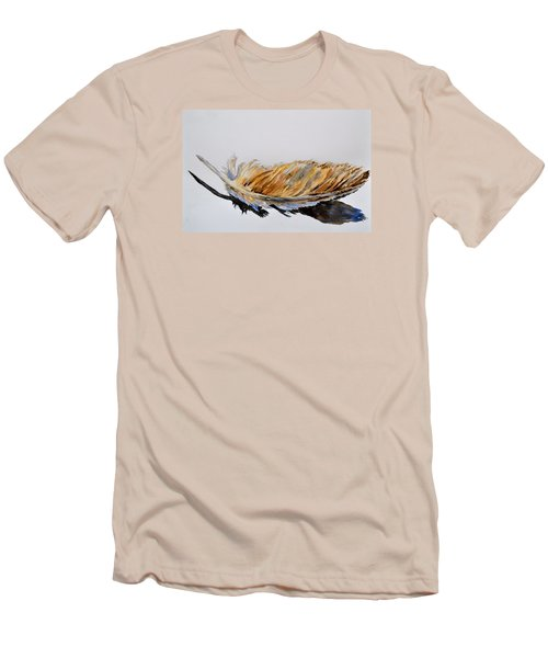 Men's T-Shirt (Slim Fit) featuring the painting Fallen Feather by Beverley Harper Tinsley