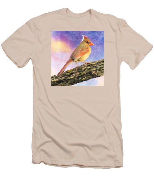 Female Cardinal Away From Sun Men's T-Shirt (Slim Fit) by Janette Boyd
