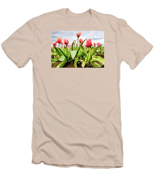 Men's T-Shirt (Slim Fit) featuring the photograph Field Of Pink Tulips by Athena Mckinzie
