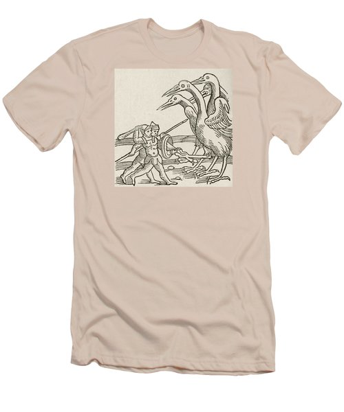 Fight Between Pygmies And Cranes. A Story From Greek Mythology Men's T-Shirt (Slim Fit) by English School