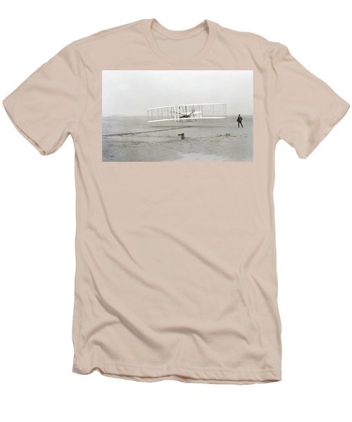 First Flight Captured On Glass Negative - 1903 Men's T-Shirt (Slim Fit) by Daniel Hagerman