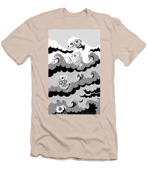 Men's T-Shirt (Slim Fit) featuring the digital art Fish Waves by Carol Jacobs