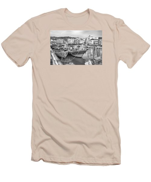 Fishing Boats B W Men's T-Shirt (Athletic Fit)