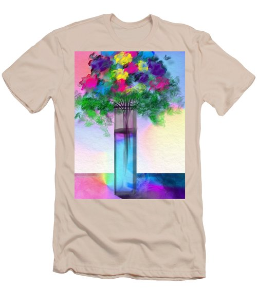 Men's T-Shirt (Slim Fit) featuring the digital art Flowers In A Glass Vase by Frank Bright