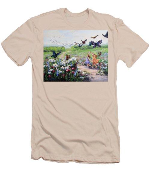 Men's T-Shirt (Slim Fit) featuring the painting Flutterby Dreams by Karen Ilari