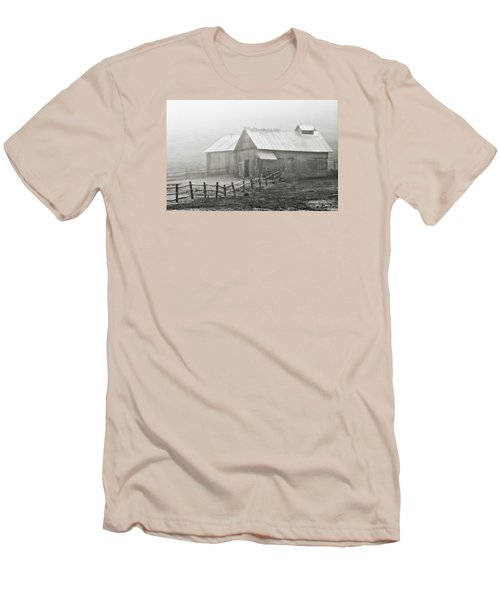 Men's T-Shirt (Slim Fit) featuring the photograph Foggy Barn by Joan Davis