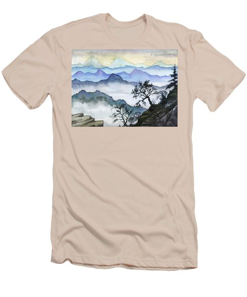 Foggy Mountaines Sunset View  Men's T-Shirt (Athletic Fit)