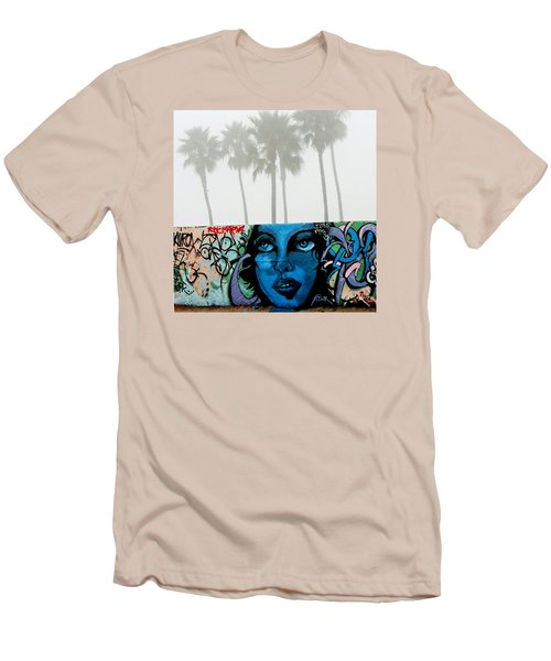 Foggy Venice Beach Men's T-Shirt (Slim Fit) by Art Block Collections