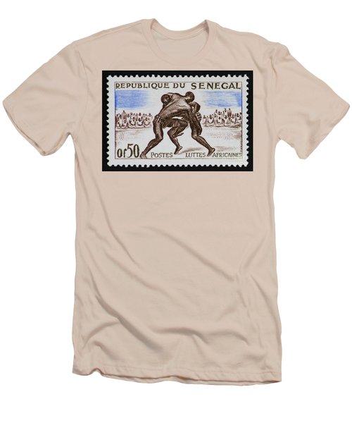 Folk Wrestling Vintage Postage Stamp Print Men's T-Shirt (Slim Fit) by Andy Prendy
