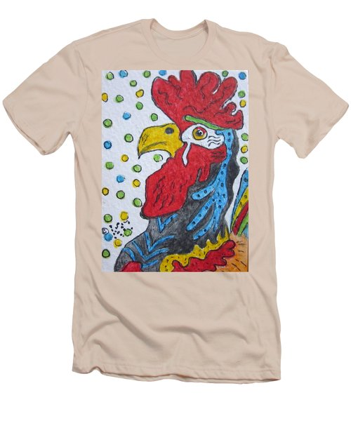Funky Cartoon Rooster Men's T-Shirt (Slim Fit) by Kathy Marrs Chandler