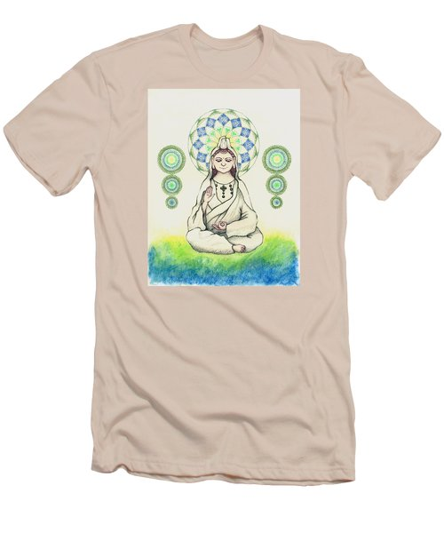 Men's T-Shirt (Slim Fit) featuring the painting Fureai Quan Yin In Kyoto by Keiko Katsuta