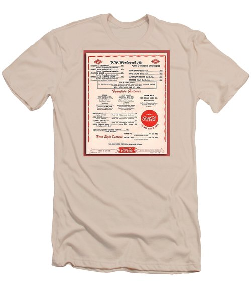 Fw Woolworth Lunch Counter Menu Men's T-Shirt (Slim Fit) by Thomas Woolworth