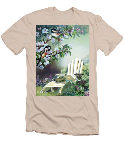 Chickadees In Blossom Tree Men's T-Shirt (Slim Fit) by Regina Femrite