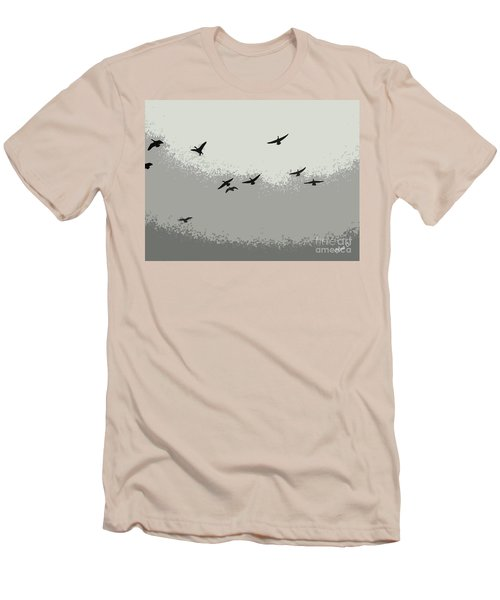 Men's T-Shirt (Slim Fit) featuring the photograph Geese In Sillouehette by Nina Silver