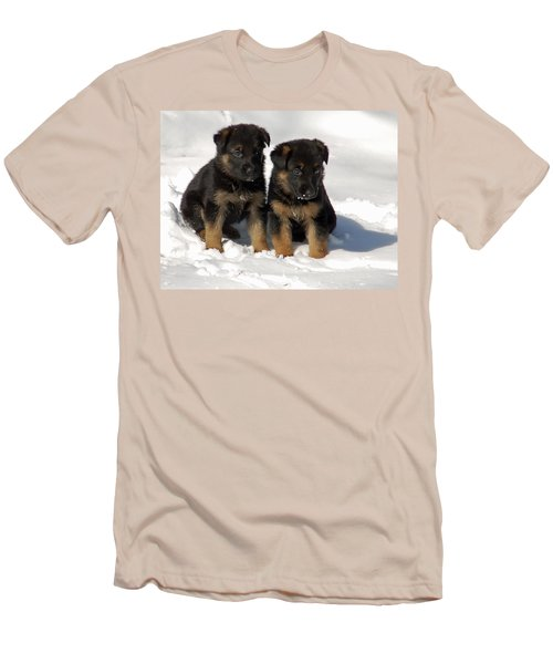 Men's T-Shirt (Slim Fit) featuring the photograph German Shepherd Pups by Aimee L Maher Photography and Art Visit ALMGallerydotcom