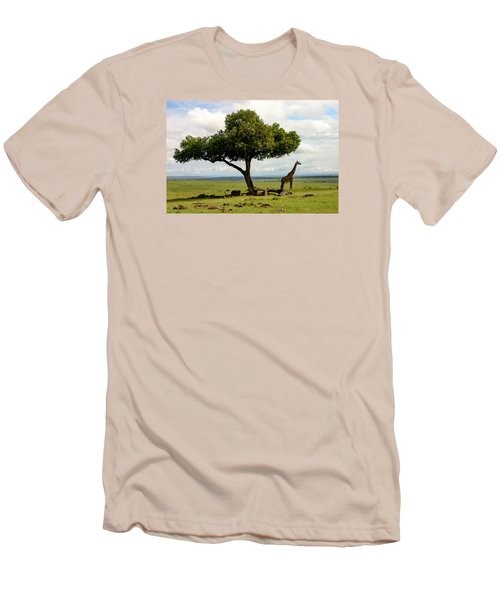 Giraffe And The Lonely Tree  Men's T-Shirt (Slim Fit) by Menachem Ganon
