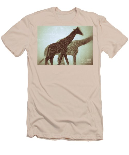 Men's T-Shirt (Slim Fit) featuring the photograph Giraffes In The Mist by Nick  Biemans
