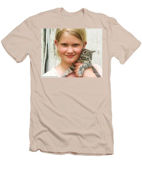 Girl With Kitten Men's T-Shirt (Athletic Fit)