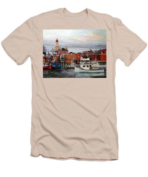 Gloucester Harbor Men's T-Shirt (Slim Fit) by Eileen Patten Oliver