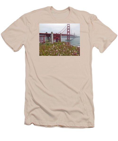Golden Gate Bridge And Summer Flowers Men's T-Shirt (Slim Fit) by Connie Fox
