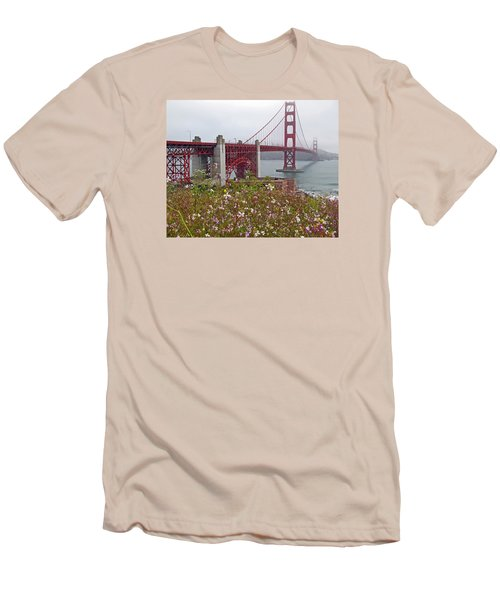 Golden Gate Bridge And Summer Flowers Men's T-Shirt (Athletic Fit)