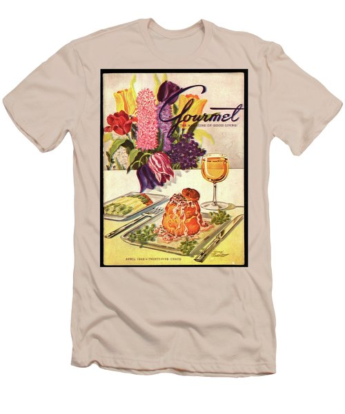 Gourmet Cover Featuring Sweetbread And Asparagus Men's T-Shirt (Slim Fit) by Henry Stahlhut