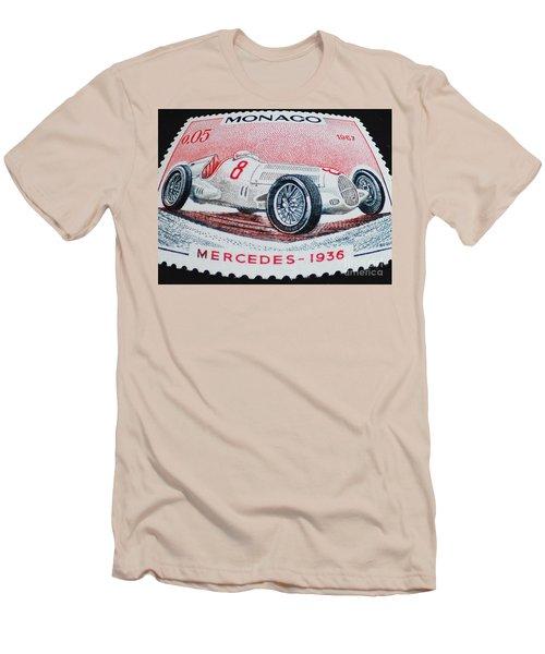 Grand Prix De Monaco 1936 Vintage Postage Stamp Print Men's T-Shirt (Athletic Fit)