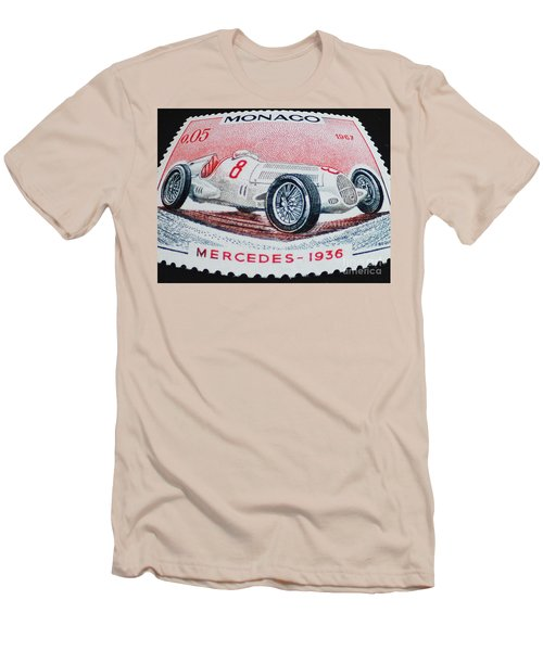 Grand Prix De Monaco 1936 Vintage Postage Stamp Print Men's T-Shirt (Slim Fit) by Andy Prendy