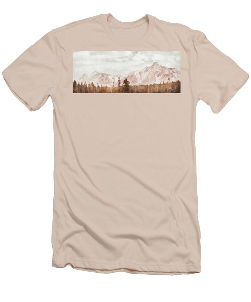 Men's T-Shirt (Slim Fit) featuring the painting Grand Teton Mountains by Greg Collins