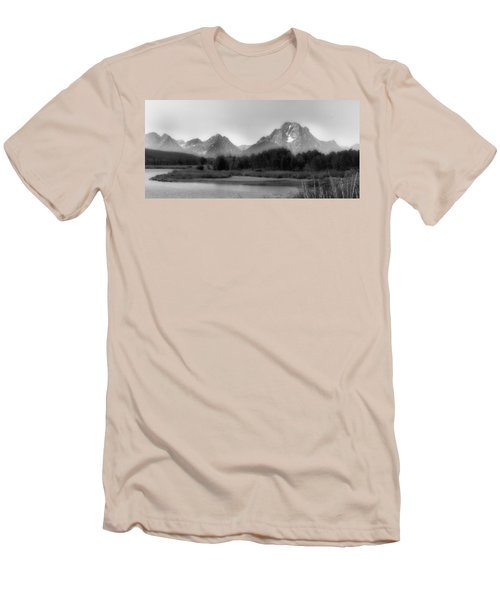 Men's T-Shirt (Slim Fit) featuring the photograph Grand Tetons Bw by Ron White