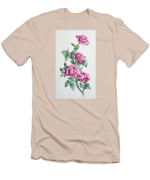 Men's T-Shirt (Slim Fit) featuring the painting Grandma Helen's Roses by Katherine Young-Beck