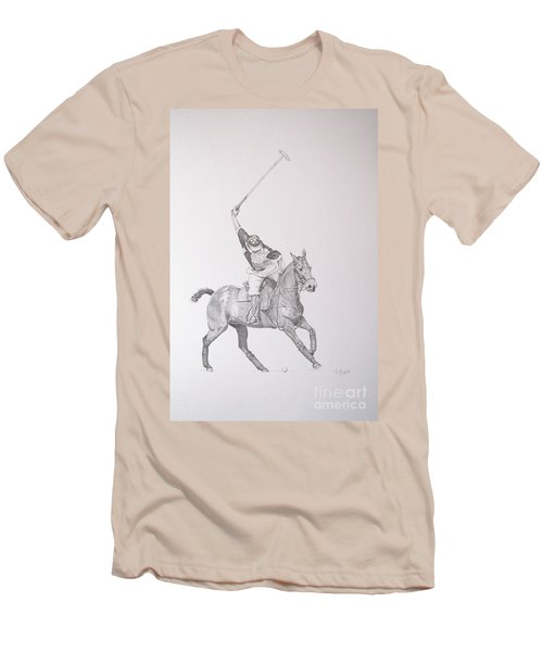 Graphite Drawing - Shooting For The Polo Goal Men's T-Shirt (Athletic Fit)