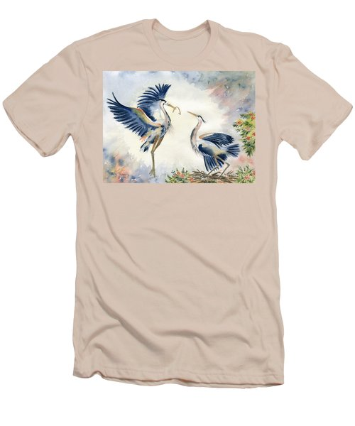 Great Blue Heron Couple Men's T-Shirt (Slim Fit) by Melly Terpening