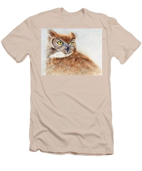 Men's T-Shirt (Slim Fit) featuring the painting Great Horned Owl by Bonnie Rinier