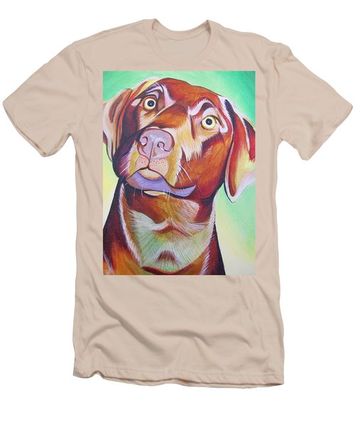Men's T-Shirt (Slim Fit) featuring the painting Green And Brown Dog by Joshua Morton